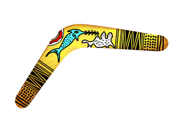 Tribal Boomerang isolated on white background. Tribal style. Vec