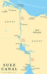 Suez Canal Political Map