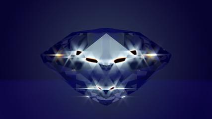 Blue glamorous diamond, 3D rendered. Loop able.