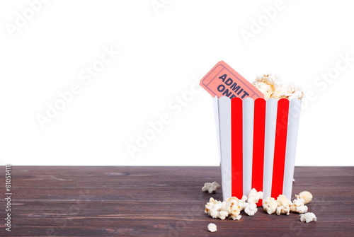 Plexiglas Aromatische popcorn movie tickets a side view of insulation