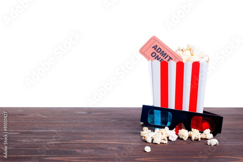 Fotobehang Aromatische popcorn movie tickets 3 d glasses side view of insulation