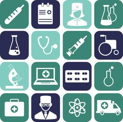 Set of medical icons in flat style.  Flat medical icons