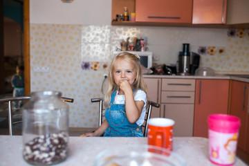 daughter in kitchen