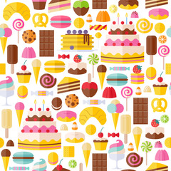 Sweet food icons seamless pattern.