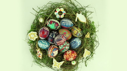 Easter nest with painted eggs