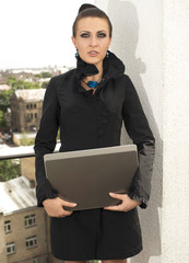 the agent on sales of houses, the woman with the tablet