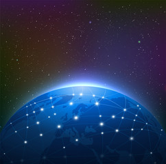 Earth at Night Among Starry Sky is Surrounded by a Luminous Netw