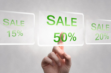 Sale 50%, touch screen