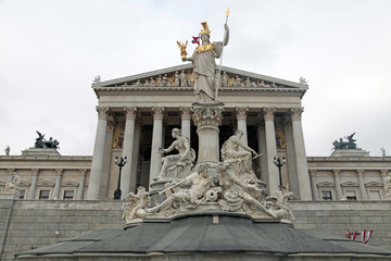 Austrian Parliament and Athena monument, Vienna, Austria.