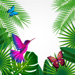 Tropical leaves with birds, butterflies. Floral design.