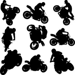 motorbike riders and motorcycles silhouettes -vector