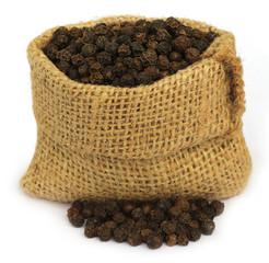 Black peppercorns in sack