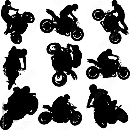 motorbike riders and motorcycles silhouettes -vector - 81053664
