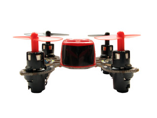 Micro quadcopter isolated on white background. Shallow DOF.