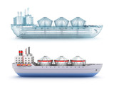 Oil tanker ship and wire model