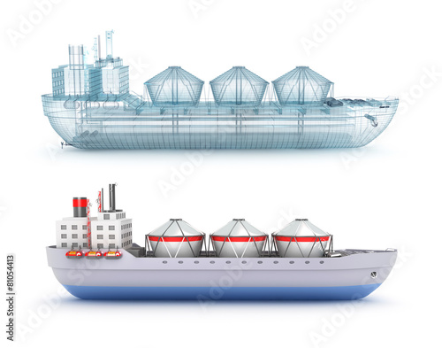 Oil tanker ship and wire model - 81054413