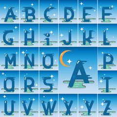Vector latin alphabet made of flat cartoon style