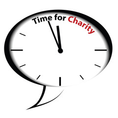 "Bubble clock ""Time for Charity"", vector"