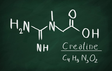 Chemical formula of creatine on a blackboard