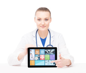 Young and professional woman doctor with an ipad