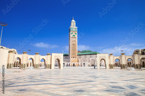 Leinwanddruck Bild beautiful  mosque Hassan second, Casablanca, Morocco