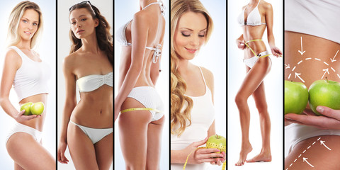Sporty women in swimsuits. Fitness, sport, health concept