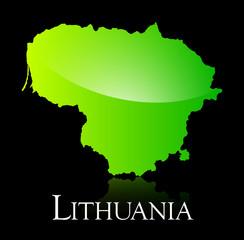 Lithuania green shiny map