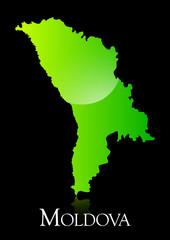 Moldova green shiny map