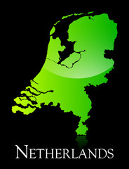 Netherlands green shiny map