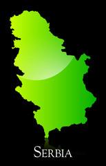 Serbia green shiny map