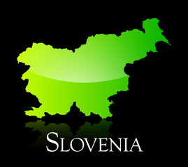 Slovenia green shiny map
