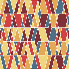 Vintage seamless pattern with rhombuses and triangles.