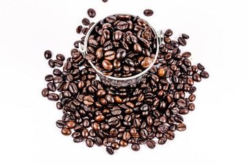 roasted coffee beans in can  isolated on white background