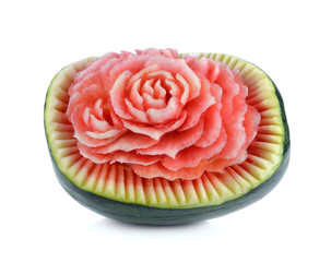 Watermelon carving isolated on white