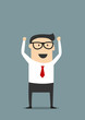 Excited businessman with raised hands