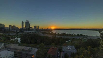 Time lapse of Sunrise At Perth City