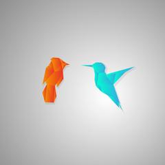 Two geometric polygonal birds
