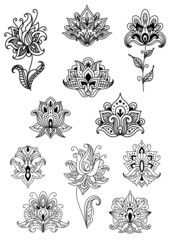 Paisley contoured flowers and blossoms