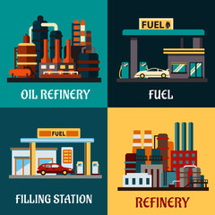 Filling stations and oil refinery buildings