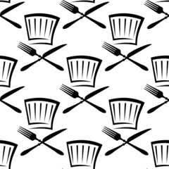 Chef toque with crossed cutlery seamless pattern