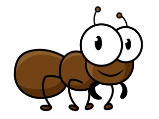 Cartoon cute brown ant character