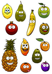 Fresh tropical and garden fruits cartoon characters
