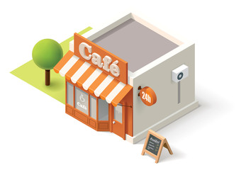 Vector isometric cafe