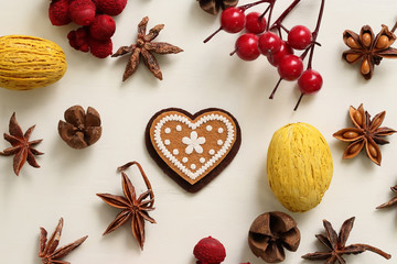 Color dry fruits with heart