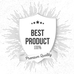 Best product shield isolated on blurred background with vintage