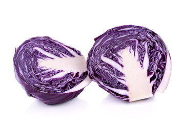 Red cabbage, violet cabbage isolated on white background