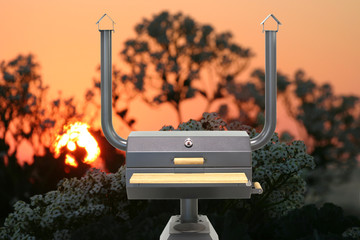 Multifunctional cooking oven, sunset.
