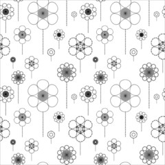 Seamless pattern with black and white flowers. Wallpaper