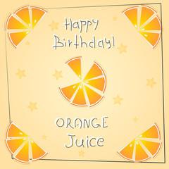 postcard happy birthday orange juice