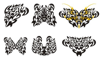 Butterflies wings and hearts in tribal style